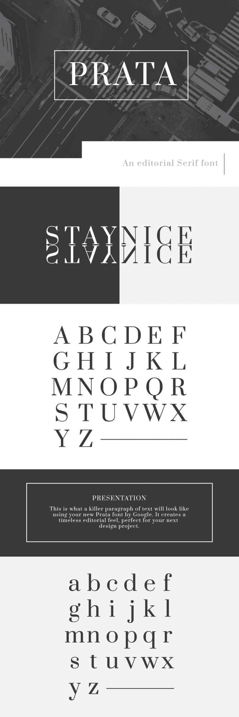 Prata font is a beautiful serif display font by Google, free for download.
