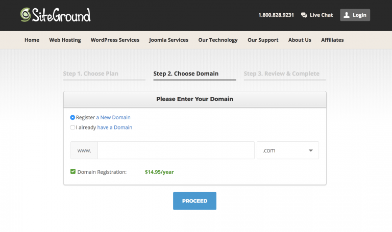 Learn how to make a wordpress blog with Siteground, Check your domain with the Siteground registration
